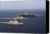 Frigate Canvas Prints - Three U.s. Navy Ships Sail In Formation Canvas Print by Stocktrek Images