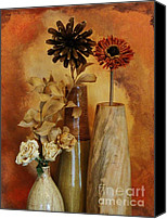 Mango Canvas Prints - Three Vases of Dried Flowers Canvas Print by Marsha Heiken