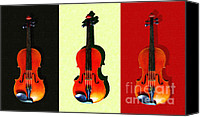 Orchestra Digital Art Canvas Prints - Three Violins . Painterly Canvas Print by Wingsdomain Art and Photography