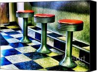 Julie Dant Photos Canvas Prints - Three White Steamer Stools Canvas Print by Julie Dant