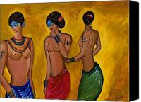 Semi Nude Canvas Prints - Three Women - 1 Canvas Print by Sweta Prasad