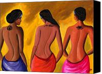 Semi Nude Canvas Prints - Three Women with Tattoos Canvas Print by Sweta Prasad