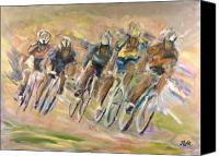 Tour De France Canvas Prints - Thrill Of The Chase Canvas Print by Jude Lobe