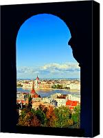 Hungary Canvas Prints - Through an arch in Budapest Canvas Print by Madeline Ellis