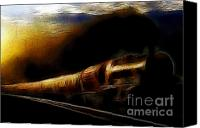 Santa Fe Digital Art Canvas Prints - Through The Dark of Night Rises The New Morning Glow . Such is the Life of The Old Engine Canvas Print by Wingsdomain Art and Photography