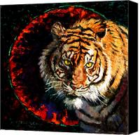 Tiger Canvas Prints - Through the Ring of Fire Canvas Print by John Lautermilch