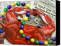 Crawfish Canvas Prints - Throw Me Somethin Canvas Print by JoAnn Wheeler