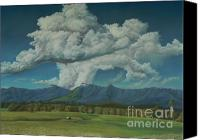 Rural Scenes Pastels Canvas Prints - Thunderhead Over Lansdowne Canvas Print by Louise Green