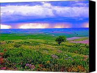 Storm Digital Art Canvas Prints - Thunderstorm over The Palouse Canvas Print by Margaret Hood