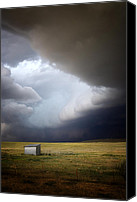 Storm Digital Art Canvas Prints - Thunderstorm over the Plains Canvas Print by Ellen Lacey