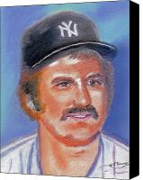 Baseball Pastels Canvas Prints - Thurman Munson Canvas Print by Wj Bowers