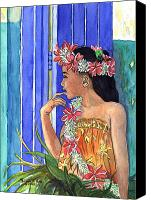 Tiare Painting Canvas Prints - Tiare Lei Canvas Print by Michele Ross
