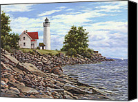 Great Painting Canvas Prints - Tibbetts Point Lighthouse Canvas Print by Richard De Wolfe