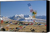 Tibetan Buddhism Photo Canvas Prints - Tibetan Buddhist Prayer Flags Atop Pass Canvas Print by Gordon Wiltsie