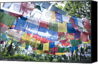 Tibetan Buddhism Photo Canvas Prints - Tibetan Buddhist Prayer Flags Canvas Print by Glen Allison
