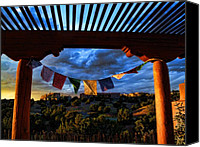 Tibetan Canvas Prints - Tibetan Prayer Flags Outside My Office at Sundown Canvas Print by Paul Cutright