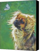 Original Canvas Prints - Tibetan Spaniel and cabbage white butterfly Canvas Print by Lee Ann Shepard