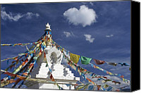 Tibetan Buddhism Photo Canvas Prints - Tibetan Stupa with Prayer Flags Canvas Print by Michele Burgess