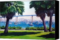 Architecture Painting Canvas Prints - Tide Lands Park Coronado Canvas Print by Mary Helmreich