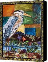Cole Canvas Prints - Tidepool Heron Canvas Print by Melissa Cole