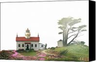 Old West Canvas Prints - Tides of Battery Point Lighthouse - Northern CA Canvas Print by Christine Till