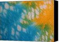 T-shirt Photo Canvas Prints - Tie Dye in Yellow Aqua and Green Canvas Print by Anna Lisa Yoder