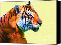 Mammals Canvas Prints - Tiger . 7D2058 . Painterly Canvas Print by Wingsdomain Art and Photography