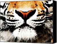 Animals Canvas Prints - Tiger Art - Burning Bright Canvas Print by Sharon Cummings