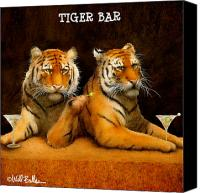 Humorous Canvas Prints - Tiger Bar... Canvas Print by Will Bullas