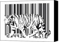 Modern Digital Art Canvas Prints - Tiger Barcode Canvas Print by Michael Tompsett