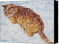Stripped Cat Canvas Prints - Tiger cat in the snow Canvas Print by Andrea Agresta