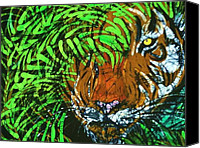Wild Tapestries - Textiles Canvas Prints - Tiger in Bamboo Canvas Print by Kay Shaffer