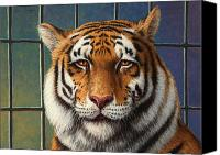 Big Painting Canvas Prints - Tiger in Trouble Canvas Print by James W Johnson