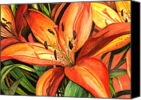 Brown Tiger Painting Canvas Prints - Tiger Lilies Canvas Print by Elaine Hodges