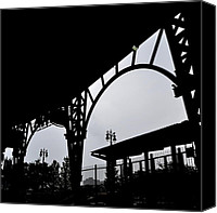 Detroit Tigers Canvas Prints - Tiger Stadium Silhouette Canvas Print by Michelle Calkins