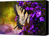 Walker Digital Art Canvas Prints - Tiger Swallowtail Feeding In Outer Space Canvas Print by J Larry Walker