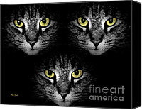 Stripped Cat Canvas Prints - Tiger Tiger Times Three Canvas Print by Dale   Ford