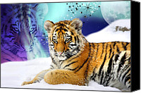  Poster Art Digital Art Canvas Prints - Tiger Treasures Canvas Print by Julie L Hoddinott