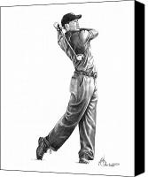 Famous Drawings Canvas Prints - Tiger Woods Full Swing Canvas Print by Murphy Elliott