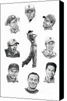 Woods Drawings Canvas Prints - Tiger Woods-Murphy Elliott Canvas Print by Murphy Elliott