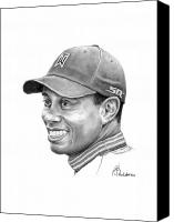 Woods Drawings Canvas Prints - Tiger Woods Smile Canvas Print by Murphy Elliott