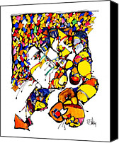 Dan Drawings Canvas Prints - Tight Embrace  Canvas Print by Dan Daulby