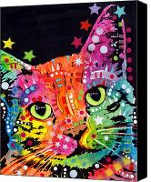 Colorful Print Canvas Prints - Tilted Cat Warpaint Canvas Print by Dean Russo