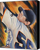 San Francisco Giants Painting Canvas Prints - Tim Lincecum 2010 Canvas Print by Angela  Villegas