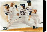 Mlb Painting Canvas Prints - Tim Lincecum Study 2 World Series Canvas Print by George  Brooks