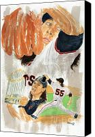 Mlb Painting Canvas Prints - Tim Lincecum Study 3 Canvas Print by George  Brooks