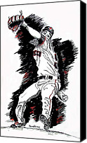 San Francisco Giants Painting Canvas Prints - Tim Lincecum Canvas Print by Terry Banderas