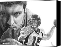 Football Drawings Canvas Prints - Tim Tebow Canvas Print by Bobby Shaw
