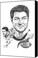 Football Drawings Canvas Prints - Tim Tebow-Tim Tebow Canvas Print by Murphy Elliott