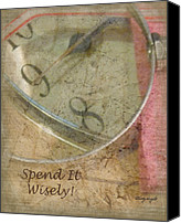Minute Digital Art Canvas Prints - Time - Spend It Wisely Canvas Print by Cindy Wright